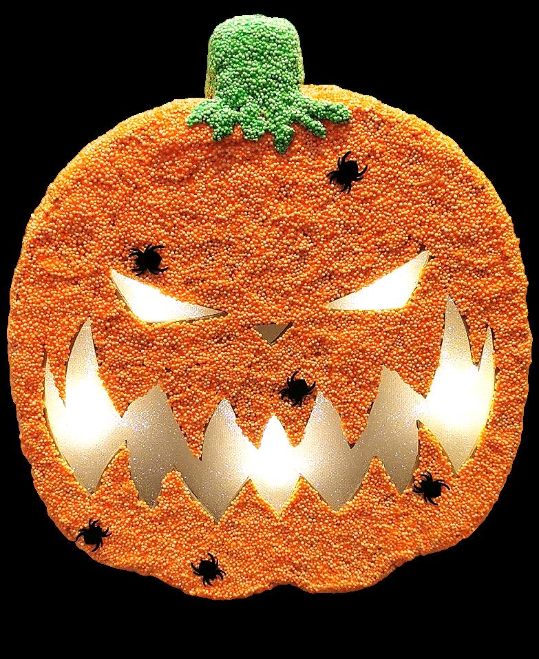 Pumpkin Papier Mache Light Up - Scary 25cm H