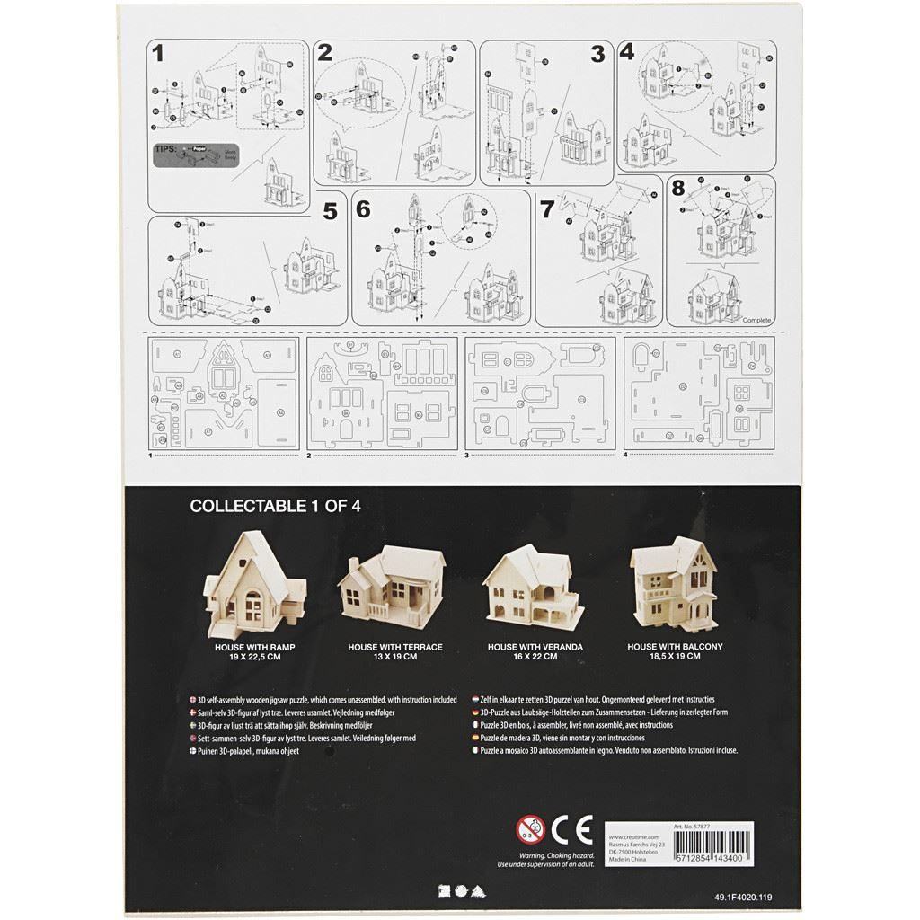 CH57877 3D Wooden Construction Kit - House with Balcony instructions