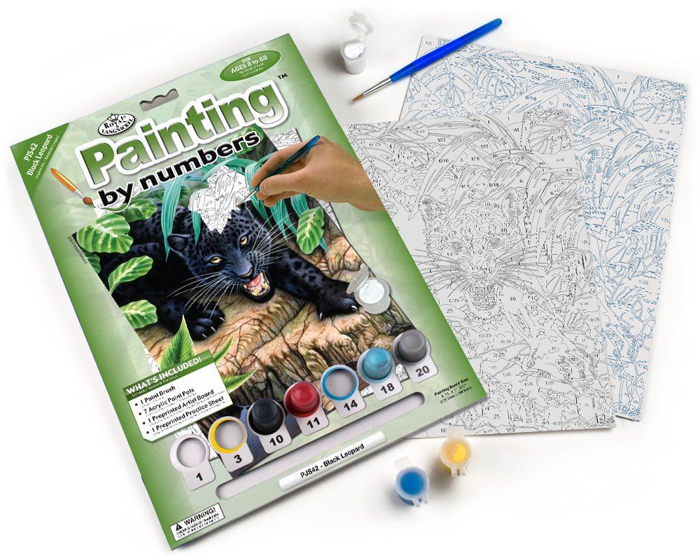 PJS42 Black Leopard Painting by Numbers Kit contents