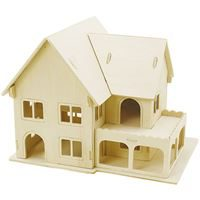 CH57876 3D Wooden Construction Kit - House with Veranda