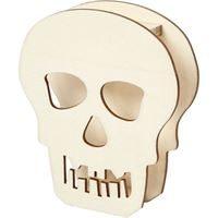 Wooden Halloween Skull 13.5cm H