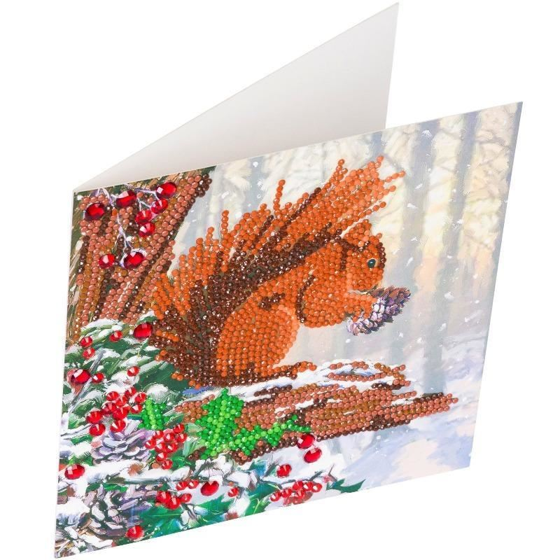 CCK-XM58 Squirrel - Crystal Art Card completed
