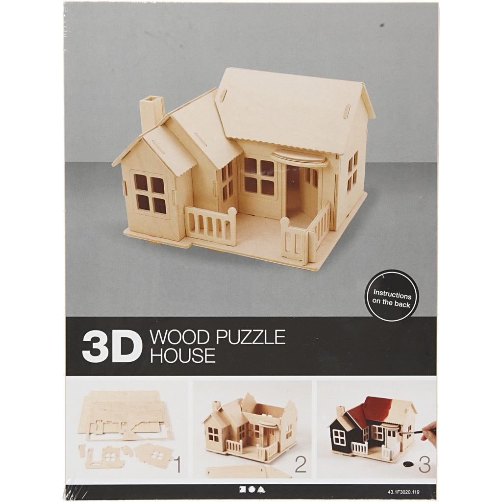 CH57875 Wooden Construction Kit- House with Terrace pack