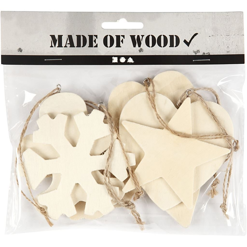 564050 Wooden Craft Ornaments Set in pack
