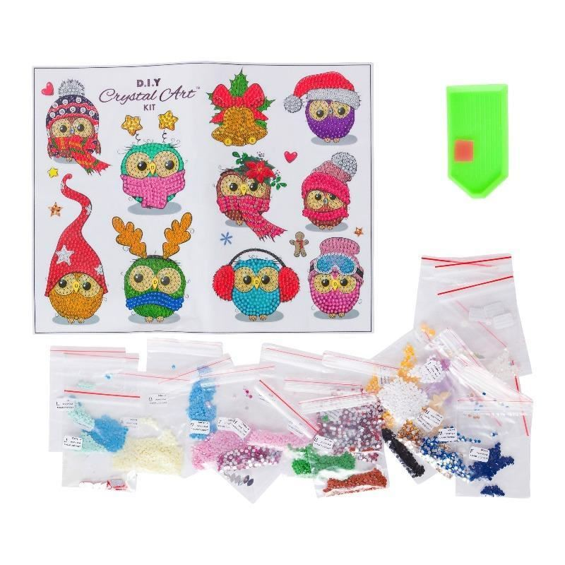 CAMK-2020SET4 Cool Christmas Owls Sticker Set contents