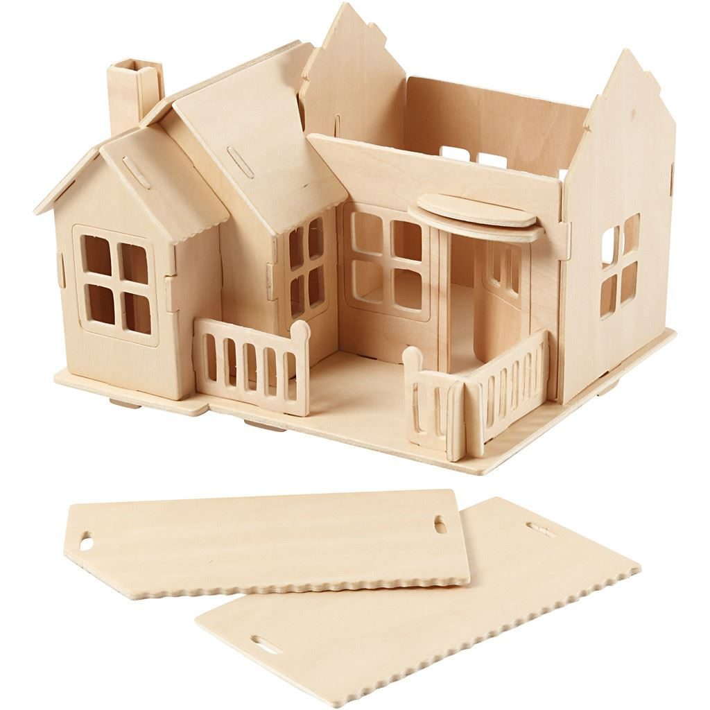 CH57875 Wooden Construction Kit- House with Terrace -semi-constructed