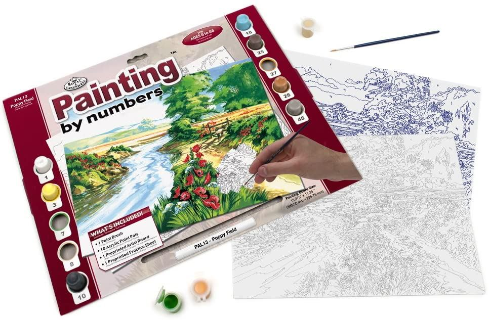 PAL13 Poppy Field Painting by Numbers Kit contents